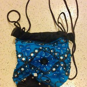 Handbags - NWT blue mirror indian potli evening bag purse